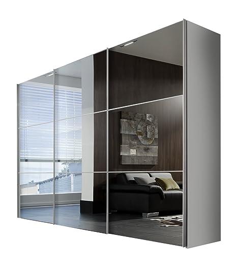Solutions 01650-182 3-turiger Schwebeturenschrank in weiß mit Spiegel, 300 x 216 x 68, Holz