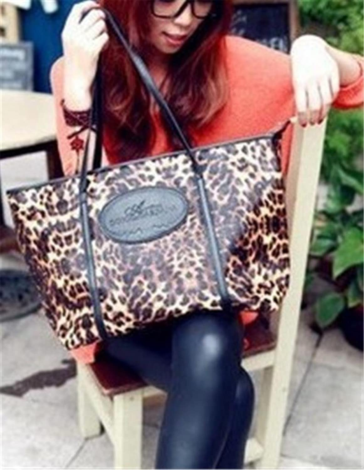 Chic Korean Style Leopard PU Shopper Bag, Big Capacity Tote Bag BG0075 colorful coated paper clips 80 jumbo 250 small