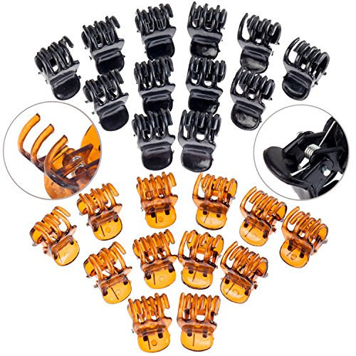 Hairstyling Accessories and Decorations Set / Kit / Lot of 24pcs Hair Crab Claws / Updos Butterfly Grips / Jaw Clips / Clasps / Clamps In Black and Amber Colors (Hair Updo Clip compare prices)