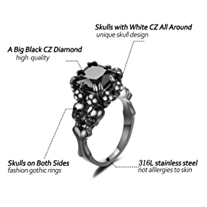 Women/'s Cubic Zirconia Skull Rings Black Claw Gothic Band Cool Party Jewelry