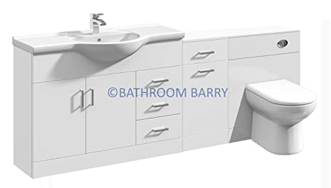 2000mm Modular High Gloss White Bathroom Combination Vanity Basin Sink Cabinet, Laundry Cupboard Unit, WC Toilet Furniture & BTW Pan