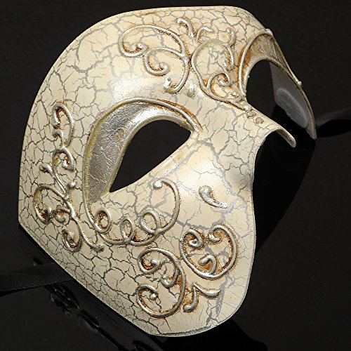Mens Phantom of the Opera Masquerade Mask - Silver