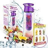 Fruit Infuser Water Bottle BPA Free, 800ML, Sports Yoga Bottle for Drinking, Leak Proof, Ideal for Hiking & Outdoors - PLUS 17 Fruit Infused Recipe eBOOK DOWNLOAD - Made with TRITAN Copolyester , Flip Lid and Carrying Handle Drinking Cup (Purple) by Wisco