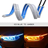 Ceyes DRL LED Light Strip Super Bright Waterproof 12V Headlight LED Tube Car Interior/Exterior Decoration Lamp,Running Light,Turn Signal Light-2pcs 18inch Day Running Light Strip Ice Blue-Amber (Color: Ice Blue-Amber LED Light Strip, Tamaño: DRL LED Strip 45cm/18inch)