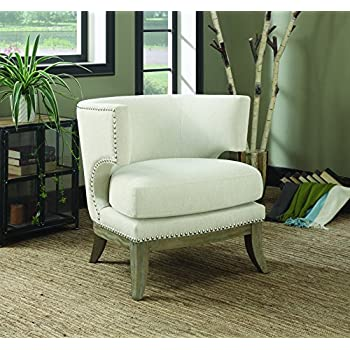 Coaster Contemporary Barrel Back White Chenille Fabric Upholstered Accent Chair