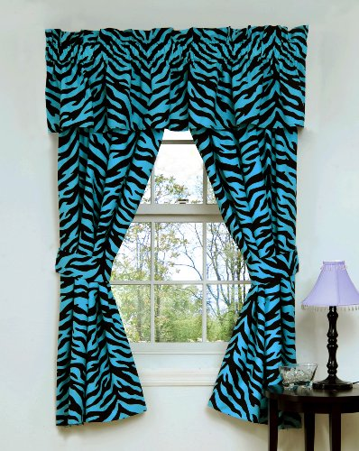 "Set Of 2 (Two) Blue Zebra 5 Pc Valance/Drape Sets (63"" Drapes)-Save On Bundling!"