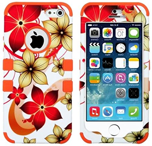 Mylife Orange - Tropical Flower Wave Series (Neo Hypergrip Flex Gel) 3 Piece Case For Iphone 5/5S (5G) 5Th Generation Smartphone By Apple (External 2 Piece Fitted On Hard Rubberized Plates + Internal Soft Silicone Easy Grip Bumper Gel)