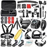 """Neewer® 50 in 1 Accessory Kit for GoPro 4/3+/3/2/1 SJ4000/5000/6000 Xiaomi Yi;Kit includes:Suction cup+Floaty bobber with strap and screw+Rotation Clip & Screw +Insurance Tether Straps+Wrist Strap+Handheld Monopod Pole+Bicycle Handlebar/Seatpost Clamp with Three-way Adjustable Pivot Arm+Chest Harness Mount+Headstrap Mount +Plastic Wrench Spanner to Tighten or Loose Knob Nut Screw+Rotation, Wrist Mount with screw+Tripod Mount Adapter+12.8x8.46x2.48""""/32.5x21.5x6.3cmCarring Case and more"""