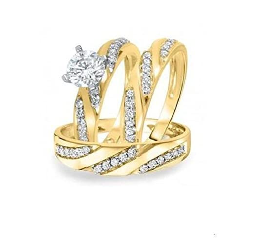 Vorra Fashion 1 3/4 TCW Round CZ 14K Gold Plated .925 Silver Trio Wedding Ring Sets