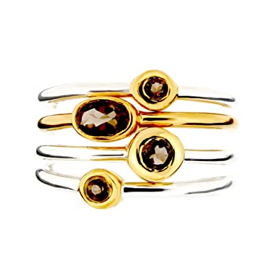 Dinny Hall Jaipur Silver and 22ct Gold Plated Smokey Quartz Ring Set