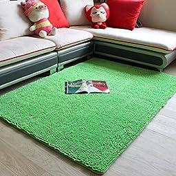 Geeen Chenille Rug for Bedroom Shag Area Rug Modern Carpet Flexible/Soft/Smooth Carpet Non-Slip Floor Rug Boys Bedroom Carpet (Green, 4\'0x5\'3)