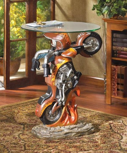Motorcycle Bike Sculptural Glass Top Accent End Table