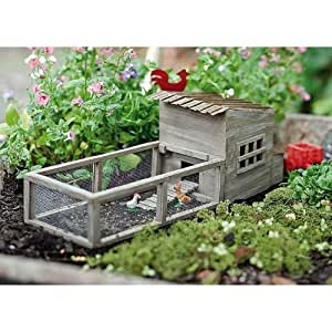 Miniature fairy garden chicken coop with chickens patio lawn garden for Olive garden cape girardeau missouri