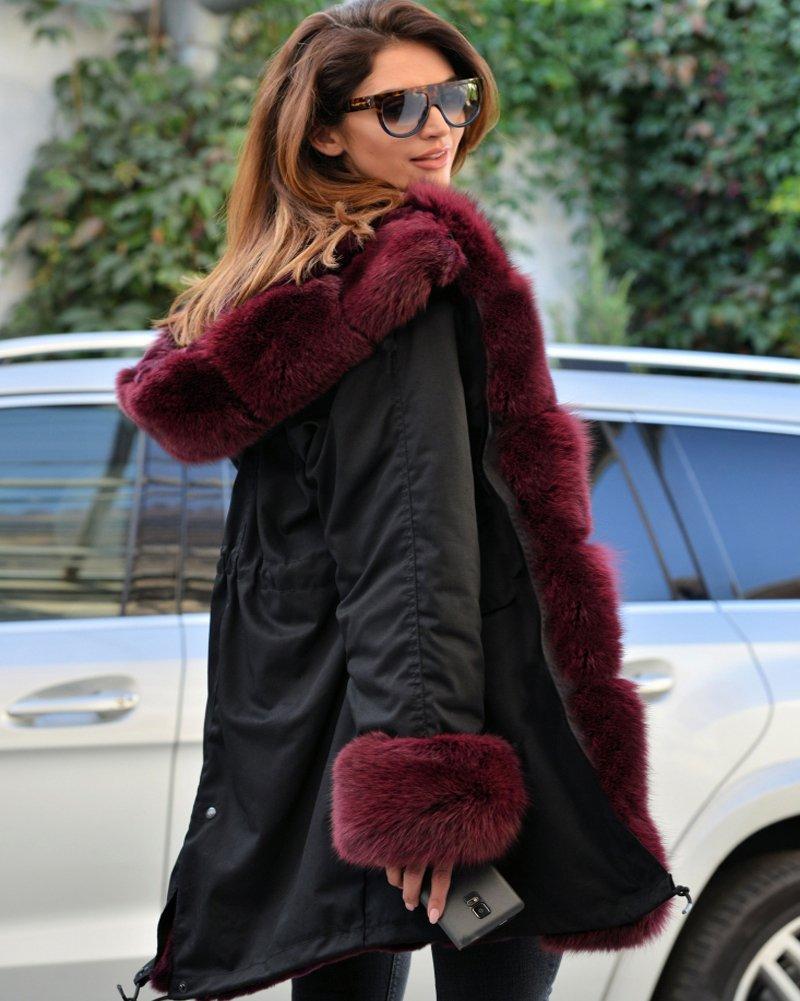 Roiii Vintage Women Military Faux Fur Hooded Winter Warm Coat Ladies Jacket Size 8-18 5