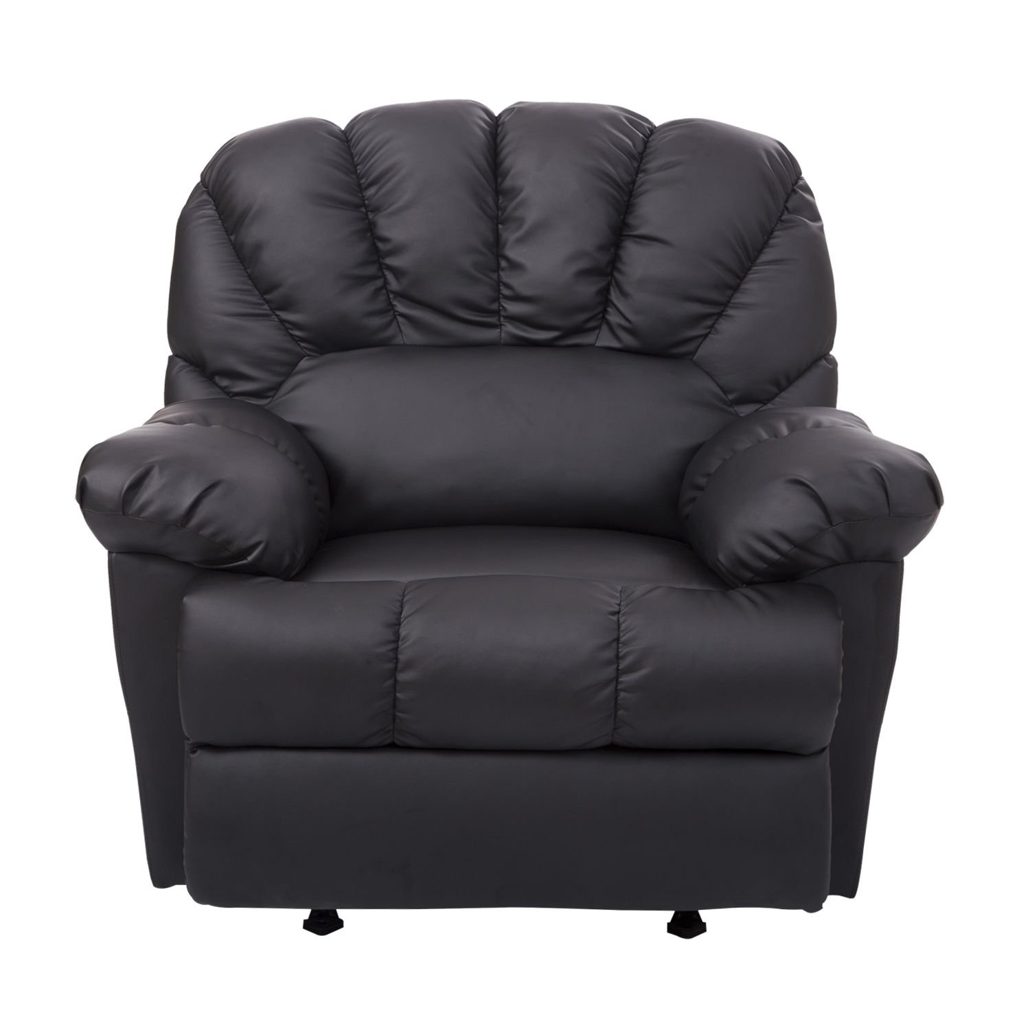 GHP Black PU Leather & PVC Backing Single Recliner Rocking Sofa