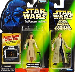 Princess Leia Organa & Han Solo Endor Gear Figuren Set - Star Wars Power of the Force Collection von Hasbro / Kenner