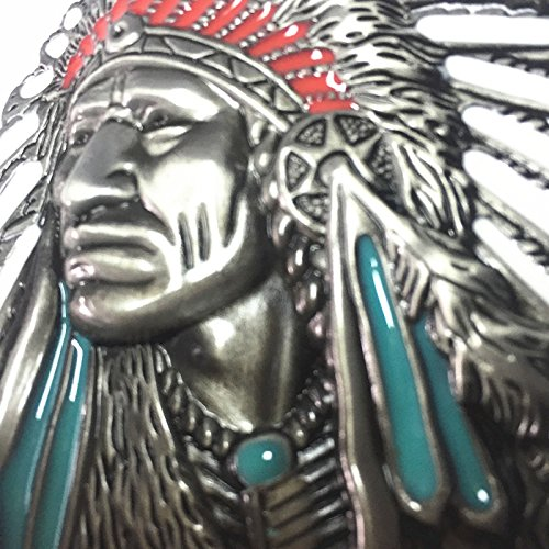 3d Native American Old West Indian Warrior Chief Belt Buckle Biker Motorcycle Vintage Silver 2