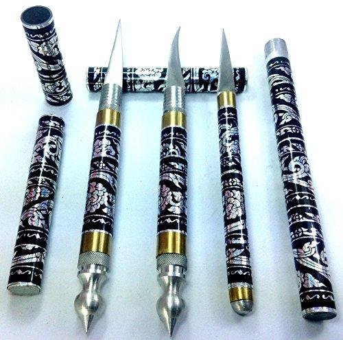 Black 3 Pcs Set Carving Knife Knive Brass Stainless Thai Handmade Vegetable Fruit Soap Lot