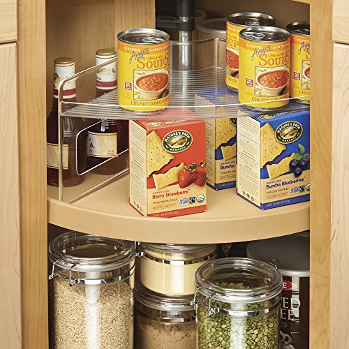 Mdesign Home Kitchen Lazy Susan Storage Shelf With Handle For Kitchen Cabinets Pantry Clear