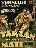 ADVERT MOVIE FILM TARZAN MATE JANE WEISSMULLER JUNGLE LION PRINT POSTER BB7602