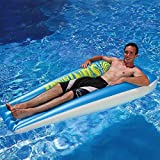 "74.5"" Blue And White Swimming Pool Suntanner Inflatable Floating Air Mattress Raft"