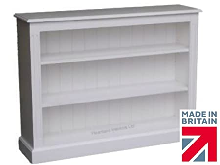 Solid Wood Bookcase; 3ft x 4ft Fully White Painted Adjustable Display Shelving Unit, Bookshelves. No flat packs, No assembly (BK5-P)