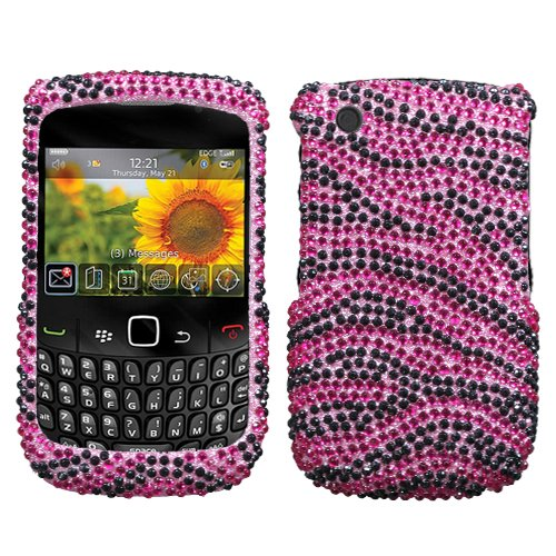 Jewel Hot Pink Black Zebra Diamonds Protector Case for BlackBerry Curve 8520 / BlackBerry Curve 8530