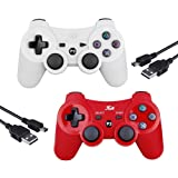2 Pcs Wireless Joystick for PS3 Controller,Double Shock Remote Controller 6-Axis Game Controller Bluetooth Gamepad for PlayStation 3 with 2 Charging Cable (new version)(Red+White) (Color: Red+White)