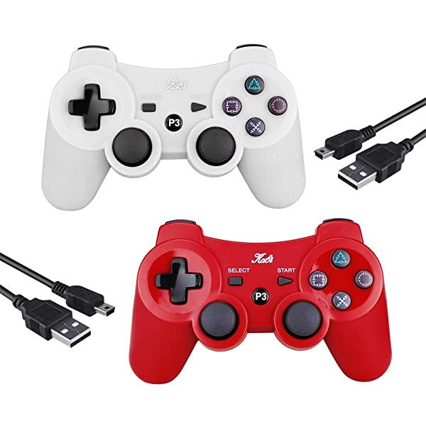 PS3 Controller Wireless Joystick Game Controller 2 Pack with Dual Shock and Free Charger Cable Compatible with Playstation 3 PS3 (Red+White) (Color: Red+White)