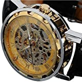 2014 Susenstore Classic Men's Leather Dial Skeleton Mechanical Sport Army Wrist Watch