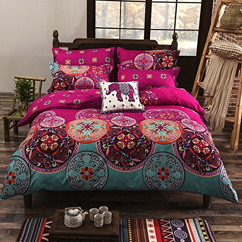 3 pc oriental mandala king bed size duvet cover set pink boho bohemian bedding. Black Bedroom Furniture Sets. Home Design Ideas