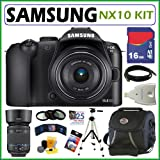 Samsung NX-10 14.6MP Digital Camera with 18-55mm Zoom Lens and Samsung EX-T50200SB 50-200MM OIS Lens + 16GB Deluxe Accessory Kit