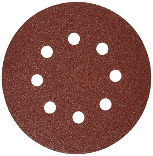 Bosch SR5R060 5-Inch Hook & Loop Sanding Disc, 8-Hole, Red, 60 Grit, 5 Pack