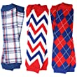 juDanzy 3 Pair Baby Boy And Girl Leg Warmers Red White and Blue Argyle, Sailor Plaid, Red White and Blue Cheveron (One Size)