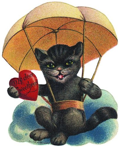 Cat in Parachute Valentine Greeting Card (Valentine's Day)