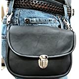 Genuine Leather Biker's Clip On Pouch -Carry On Belt Or On Shoulder W/Detachable Strap - Black