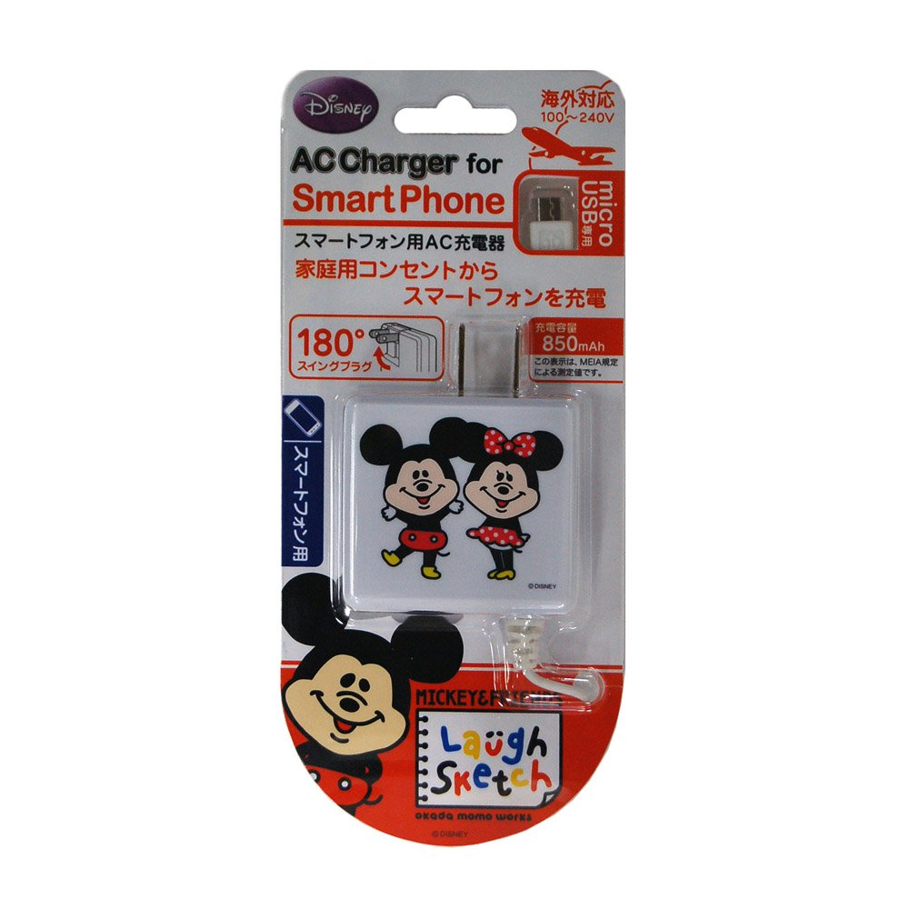 rix 智能手机专用microusb対応ac充电器「laugh sketch」ミッキー&ミ