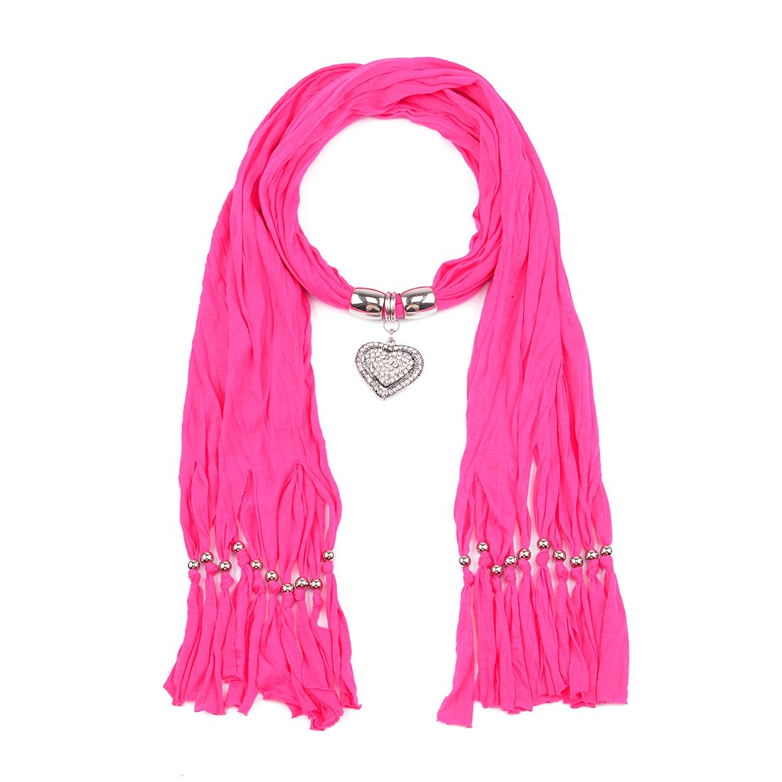 Metal Charm Heart Pendant Jewellery Scarf Necklace-H.Pink