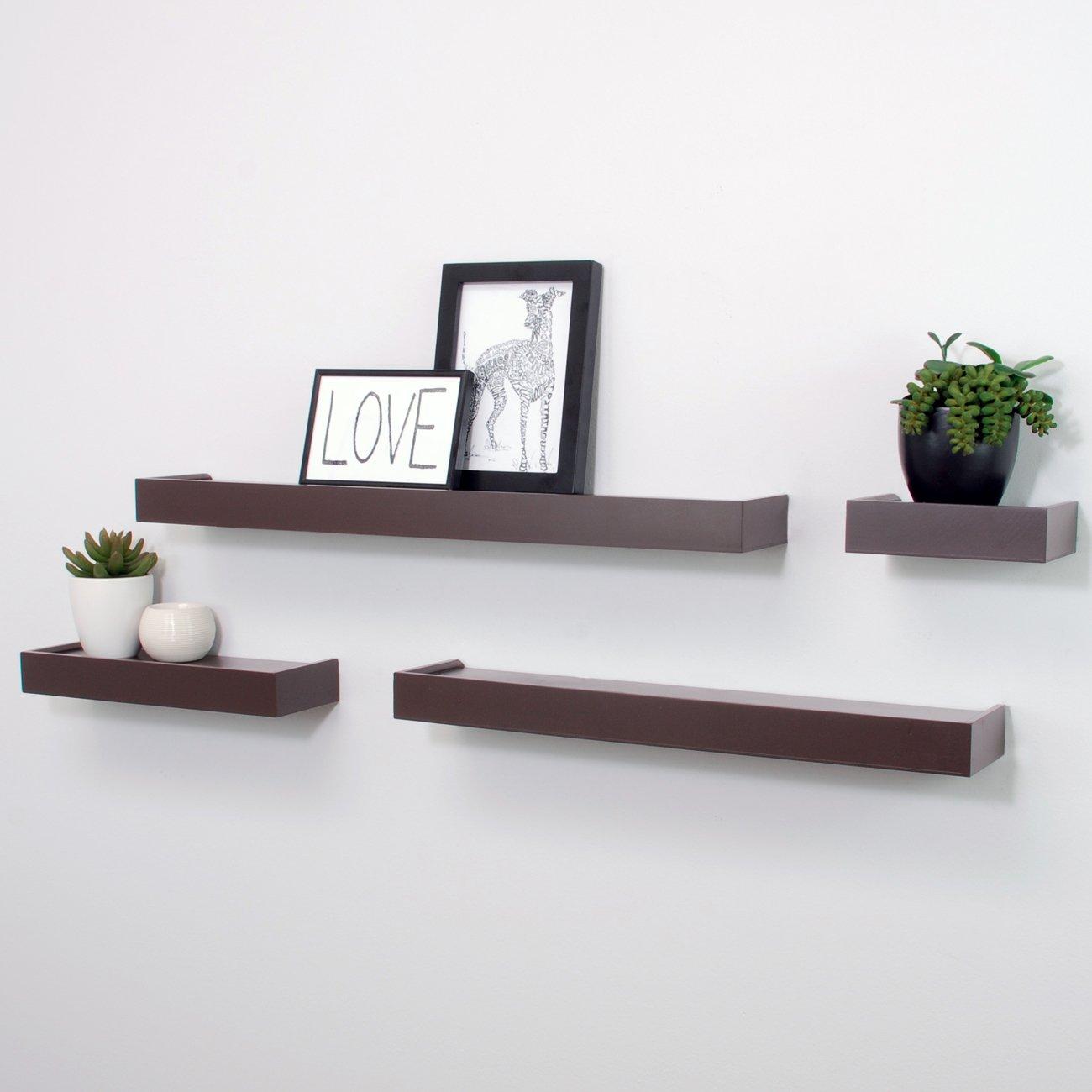 Espresso Floating Display Ledge Shelves Set Of 4 Wall