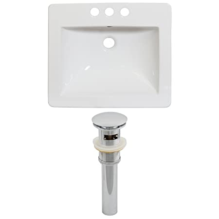 "Jade Bath JB-15530 21"" W x 18"" D Ceramic Top Set and Drain, White"