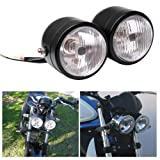 Black Twin Front Headlight Motorcycle Double Dual Lamp Street Fighter Universal for Harley Dual Sport Dirt Bikes (Color: As the picture, Tamaño: One Size)
