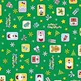 タカ印 クリスマス包装紙 10枚ロール オーナメント緑 全判 49-4504