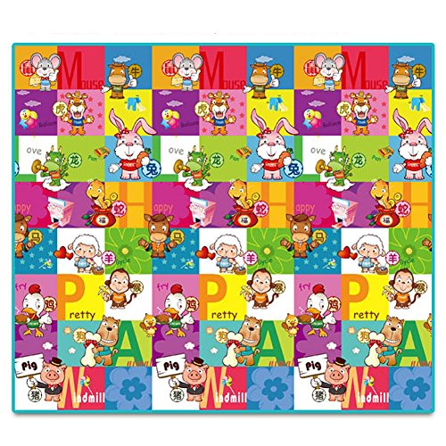 Baby Foam Game Mats 200*180*2Cm Cartoon Zodiac Animal And Farm Floor Mat