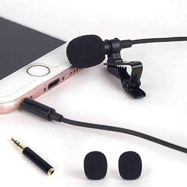 ATNY ATM-99 Professional Condenser Lavalier Microphone, Hands Free Clip-on Lapel Mic with Omnidirectional Condenser, Compatible with iPhone,iPad,iPod