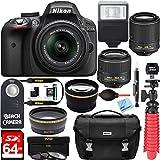 Nikon-D3300-242MP-DSLR-Camera-DX-18-55mm-55-200mm-Dual-NIKKOR-VR-II-Lens-Kit-64GB-Memory-Accessory-Bundle-Photo-Bag-Wide-Angle-Lens-2x-Telephoto-Lens-Flash-Remote-TripodFilters