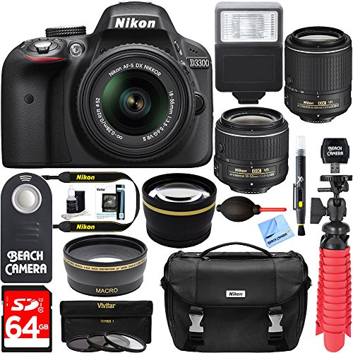 Nikon-D3300-242MP-DSLR-Camera-DX-18-55mm-55-200mm-Dual-NIKKOR-VR-II-Lens-Kit-64GB-Memory-Accessory-Bundle-Photo-Bag-Wide-Angle-Lens-2x-Telephoto-Lens-Flash-Remote-TripodFilters