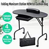 Yaheetech White Manicure Table Nail Table Station W/Carrying Case/Pull Out Drawer/Removable Wrist Cushion, 37'' x 17.3''