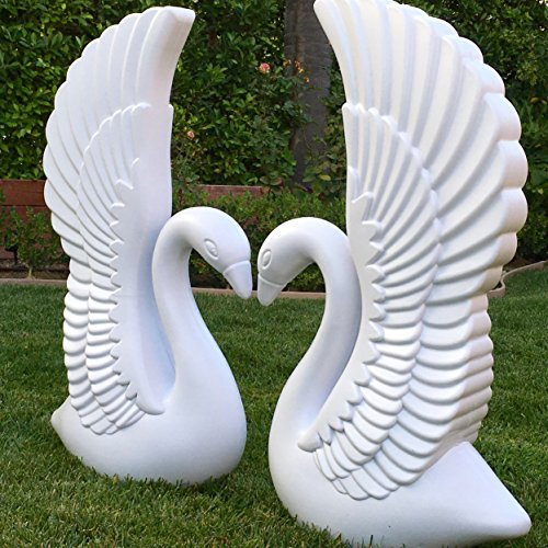 Adorox Decorative Plastic Wedding Event Romantic White Swan Prop Backdrop Sculptures Statue Decor (2)