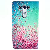 LG G3 Case, LG G3 FUNMAL(TM) Fashion Cherry blossoms Pattern Wallet Stand Case Cover for with PU Leather and Card Slots