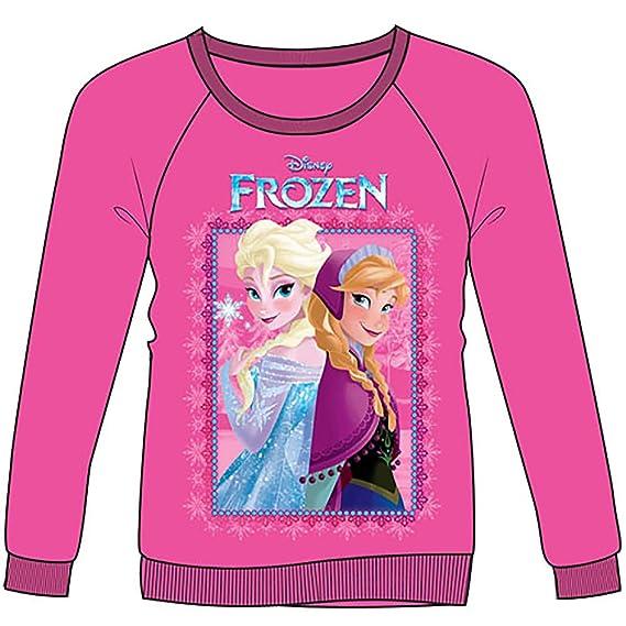 Disney Frozen Sisters Anna Elsa Girls Fitted Pullover Sweatshirt Pink